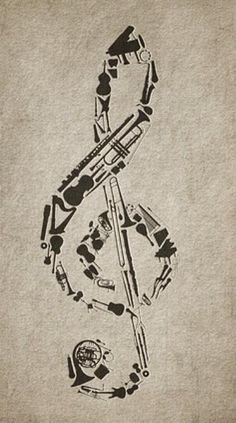 Music: Treble clef composed of instruments AMAZING!!!!!!!!! I loooooooooove it!