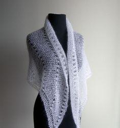 Hand Knit Lace Shawl Bridal Wedding Wrap Scarf by PeacefulPath, $65.00