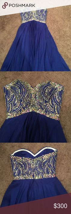 Tony Bowls Blue prom dress Absolutely stunning Tony Bowls Prom Dress. Royal Blue strapless size 4. Excellent condition only worn once. No stains- beautifully diamond heeled top. Firm on price. Worn for about 1 hour, this dress is absolutely perfect! Tony Bowls Dresses Prom