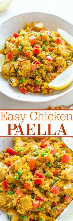 Easy Chicken Paella - If you're never made paella before, here's how with this EASY recipe ready in 45 minutes!! Juicy chicken and tender rice with onions, peppers, tomatoes, and more! So much FLAVOR in every bite!!