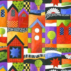 eQuilter Sausalito - Painted Village - Bright/Flame