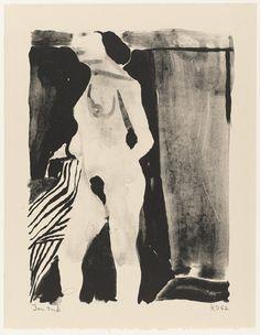 "Nude  Richard Diebenkorn (American, 1922–1993)    (May 8-10) 1962. Lithograph, irreg composition 16 7/16 x 12 9/16"" (41.8 x 31.9 cm) sheet 19 1/4 x 14 15/16"" (48.9 x 38 cm). Gift of Kleiner, Bell & Co. © 2012 Richard Diebenkorn"