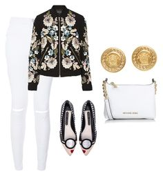 """""""#zayn #chanel #kim"""" by sa14muna on Polyvore featuring Needle & Thread, Alice + Olivia, Michael Kors, Versace, women's clothing, women, female, woman, misses and juniors"""