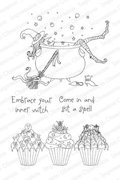 Impression Obsession Witch's Chant - Halloween Cling Rubber Stamp ...