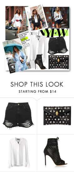 """""""#NYFW - Inspiration from the street. White Shirts worn four ways"""" by nikkisg ❤ liked on Polyvore featuring Topshop, Alexander McQueen, Gianvito Rossi, women's clothing, women, female, woman, misses, juniors and NYFW"""