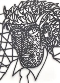 Howard Arkley (1951-1999) • Face 1988 • Acrylic on paper • 7th R.M Ansett Art Award • The Estate of Howard Arkley, Courtesy Kalli Rolfe Contemporary Art • 1988.051 #face #HowardArkley Howard Arkley, Arts Award, Asian Art, Tribal Tattoos, Metal Working, Contemporary Art, Draw, Detail, Gallery