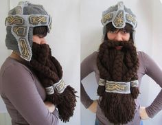The Hobbit-Themed Crochet Dwarf Beard and Helmet