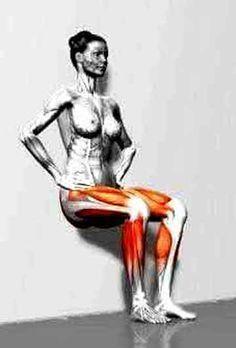 exercice de la chaise isométrique pour connaitre le niveau de force isométrique des quadriceps