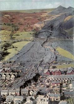 Aberfan - At on Friday, 21 October the eyes of the world turned in horror to the tiny coal mining village of Aberfan in Wales where 116 children and 28 adults died. Tornados, Cymru, Coal Mining, Natural Disasters, South Wales, Geology, Places To See, Beautiful Places, Scenery