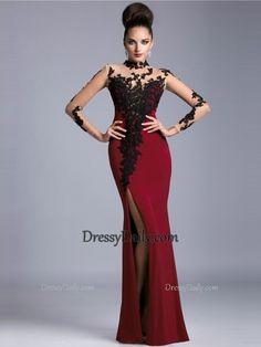 Trumpet/Mermaid High Neck Long Sleeves Applique Satin Tulle Chiffon Floor-Length Dresses - PROM