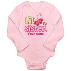 Cafepress Personalized Little Sister Long Sleeve Infant Bodysuit, Infant Girl's, Size: 0 - 3 Months, Pink