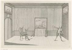 Anonymous | Spotprent op het nemen van het schip van Laurens en de Gewapende Neutraliteit, 1780, Anonymous, 1780 - 1781 | Spotprent op het nemen door de Britten van het schip en de papieren van de Amerikaan Henry Laurens en het Verbond van de Gewapende Neutraliteit, 1780. Huiskamer waarin twee heren die met elkaar praten over drie schilderijen van zeeslagen die aan de muren hangen. Bij de prent behoort een tekstblad met de uitleg van de voorstelling.