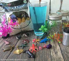 DIY Mini Mason Jar Aquariums are perfect for ocean themed parties or beach weddings. Such a fun craft for kids too! Ocean Crafts, Beach Crafts, Summer Crafts, Fun Crafts For Kids, Art For Kids, Diy And Crafts, Mini Mason Jars, Mason Jar Gifts, Craft Projects