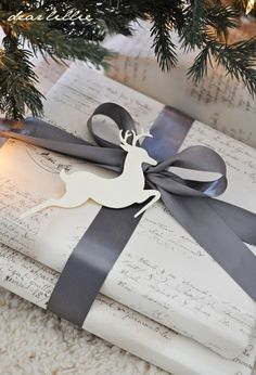 Watch a wonderful video on how to tie the perfect bow and see our favorite holiday gift wrapping ideas today, on Hadley Court Wrapping Ideas, Present Wrapping, Creative Gift Wrapping, Creative Gifts, Elegant Gift Wrapping, Noel Christmas, Winter Christmas, All Things Christmas, Christmas Crafts