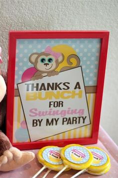 curious george inspired monkey party, thanks a bunch for swinging by, thank you gifts