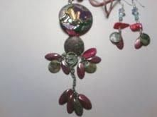 Vintage Up-cycled Gemstone Artistic South-western Silk Cord Necklace & Earrings Set $34.99