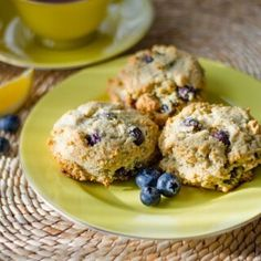 These are my all time favorite paleo scone recipe! These paleo lemon blueberry scones are gluten-free, grain-free, dairy-free and refined sugar-free. Paleo Sweets, Paleo Dessert, Gluten Free Desserts, Real Food Recipes, Cooking Recipes, Yummy Food, Simple Recipes, Flour Recipes, Healthy Recipes
