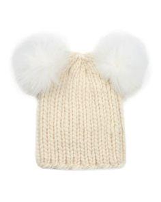 D0R65 Eugenia Kim Mimi Knit Hat with Fur Pompoms, Cream
