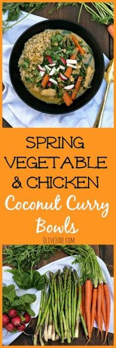 Spring Vegetable and Chicken Coconut Curry Bowls Easy Vegetarian Dinner, Easy Dinner Recipes, Easy Meals, Easy Recipes, Soup Recipes, Walnut Chicken Recipe, Chicken Recipes, Healthy Chicken, Curry Bowl