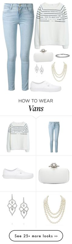 """White and denim"" by aprilcou on Polyvore featuring MANGO, Frame Denim, Vans, Oscar de la Renta, Stephen Webster and Chanel"