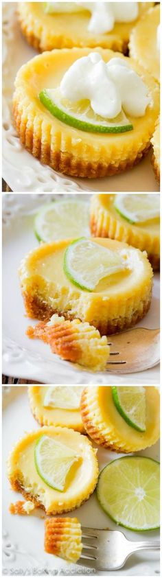 Key Lime Mini Pies; tart, sweet, and creamy filling on top of the most perfect graham cracker crust.