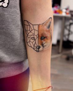 Geometric half fox head arm tattoo by yershova_anna