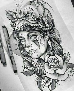 new Ideas for neo traditional tattoo design indian Neue Tattoos, Body Art Tattoos, Sleeve Tattoos, Hand Tattoos, Diadem Tattoo, Neotraditionelles Tattoo, Inca Tattoo, Tattoo Flash, Tattoo Indien