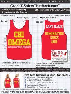 Chi Omega SJ16341 ...................................................  WORK 1 ON 1 with a member of our design team until your T-Shirt idea is perfect.... and ALWAYS get them on in time (or before you even need them) at the price you want!  ...................................................  Just click this design, it will take you to our website where you can  upload your ideas and get everything started!