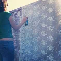 Karen Le Roy Harris stencilling lace onto her container
