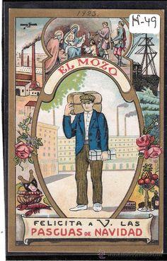 FELICITACION ANTIGUA NAVIDAD OFICIOS - EL MOZO - VER REVERSO - ( N-49 ) - Foto 1 Vintage Advertisements, Vintage Ads, Vintage Posters, Old Christmas, Vintage Christmas, Christmas Cards, Old Cards, Old Postcards, Spanish Posters