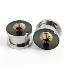 Pirate Ship Moon  ear tunnels-Pairs ear gauges tunnel screw back plugs ,Screw Tunnels Gifts for Men Women