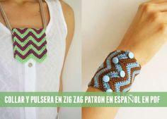 Patrones Crochet: Collar y pulsera en Zig Zag a crochet tutorial
