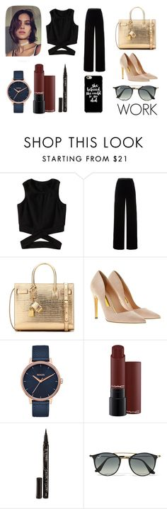 """BLACK"" by sjkmaia on Polyvore featuring T By Alexander Wang, Yves Saint Laurent, Rupert Sanderson, Nixon, Smith & Cult and Ray-Ban"