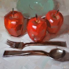 "Daily Paintworks - ""Orderly Apples"" - Original Fine Art for Sale - © Carol Marine Fresco, Fruit Painting, Apple Painting, Knife Painting, Painting Art, Apple Art, Fine Art Auctions, Painting Lessons, Art Lessons"