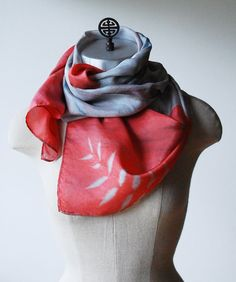 Coral silk scarf coral and silver scarf asian style by 88editions