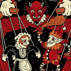 Beer label T-Shirt design by Horror Rudey for JBWWBrewco. A spooky illustration showing Punch and Judy marionettes controlled by a red satanic figure. Little Theatre, Punch And Judy, Horror Books, Beer Label, Scary Movies, Satan, Typography Design, Layout Design, Creepy