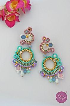 soutache unicorn colorful earrings. Entirely hand-sewn by Reje, Italian jewelry designer
