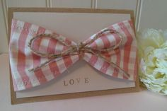 Rustic Gingham Fabric Bow Wedding Invitation  by OloveDesigns, £3.75