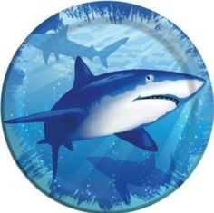 "Custom & Unique {7"" Inch} 8 Count Bulk Multi-Pack Set of Medium Size Round Circle Disposable Paper Plates w/ Underwater Deep Sea Adventures Swimming With Sharks ""Blue, Teal & White Colored"""