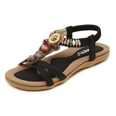 Womail 2016 Fashion Summer Atificial Gem Flowers Beaded Vintage Flats  Bohemian Herringbone Clip Toe Sandals Beach Shoes 39 Black     Continue to  the product ... 9629e6f83f98