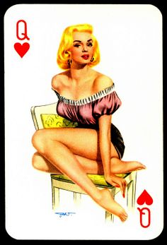 """""""Darling"""" playing card issued in the with artwork by Heinz Villiger ~ Marilyn Monroe ~ The Queen of Hearts Valentines Tumblr, Off With Their Heads, Honey Brand, Queen Of Everything, I Love My Wife, Classic Image, Heart Cards, Retro Art, Pin Up Art"""