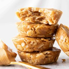 Easy, simple & delicious—a quick recipe for soft 'n chewy peanut butter oatmeal cups that are No Bake! Healthy, Gluten-Free, Vegan, Dairy-Free, No Cook.