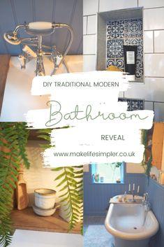 DIY Traditional Modern Bathroom Reveal - Make Life Simpler Simple Blog, Cubbies, Cladding, Modern Bathroom, How To Look Pretty, Relax, Traditional, How To Make, Diy