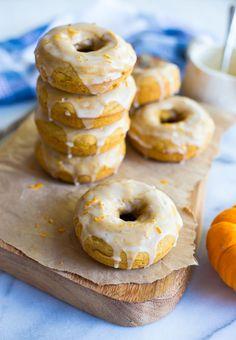 Gluten Free Pumpkin Orange Glazed Doughnuts {Dairy Free}
