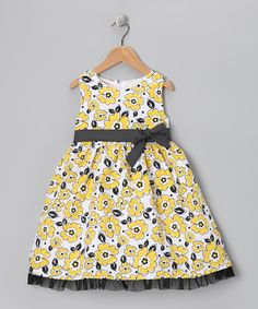 Black & Yellow Floral Bow Dress - Infant, Toddler & Girls