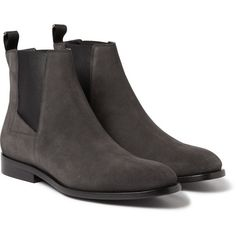 Balenciaga Suede Chelsea Boots (13 480 ZAR) ❤ liked on Polyvore featuring mens, men's shoes, men's boots and grey