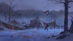 ArtStation - Acaratus - Camp Winter Storm Backdrop -, Klaus Pillon