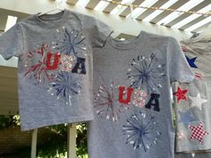 of July t-Shirts - Holiday Shirts - Ideas of Holiday Shirts - While my sister was here visiting we made nine of July T-shirts. We decided to go with gray T-shirts so the Red White & Blue would all stand out. The USA shirts are for t 4th July Crafts, Fourth Of July Decor, 4th Of July Decorations, 4th Of July Outfits, 4th Of July Party, July 4th, Birthday Decorations, Patriotic Shirts, Patriotic Crafts
