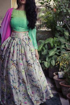 Buy JHALLA WALLAH_Digital printed floral lehenga with matching blouse