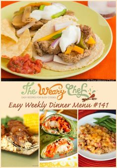 Slow Cooker Ribs, Cheeseburger Macaroni, and Buffalo Chicken Wraps are just a few of the easy dinner recipes in today's menu!